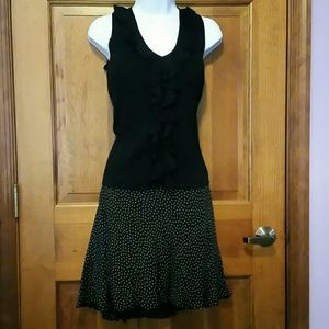 Ann Taylor Loft silk black w cream polka dot skirt